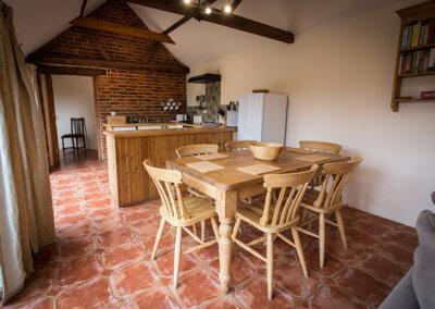 Dingle Hill Barns Cottages Dunwich Suffolk, kitchen diner in our Avocet cottage